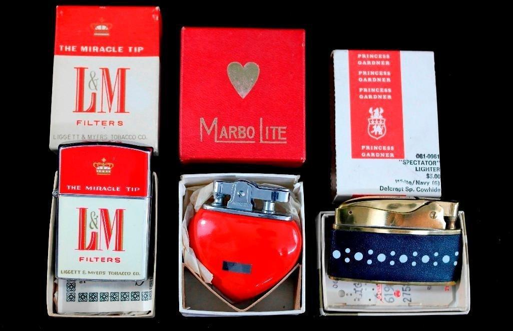 Lot of 3 Vintage Lighters - Marbo Lite, L&M Filters,