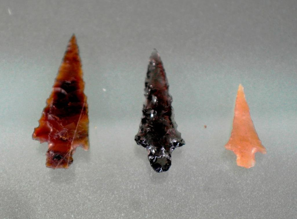 Lot of 3 Columbia River Arrowheads Points - Ohbe Site -