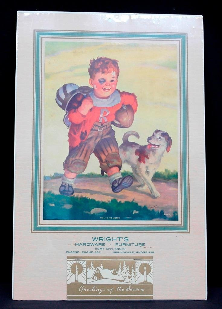 1942 Calendar - Boy with Dog & Football