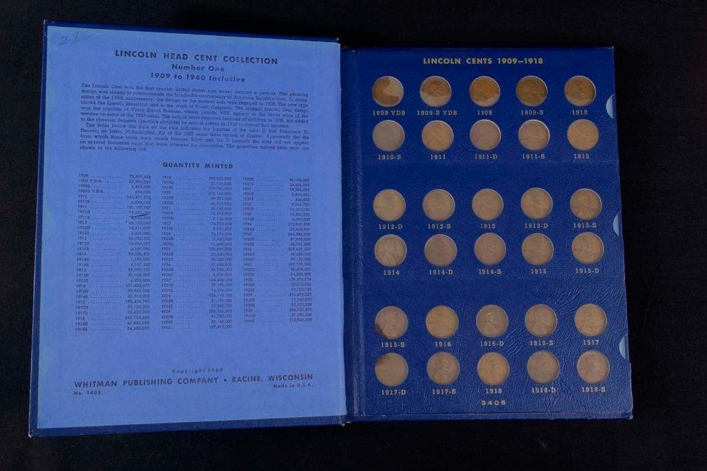 1909 - 1940 Lincoln Cent Penny Book includes a 1909 S