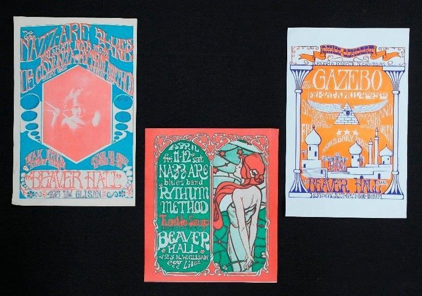 3 Beaver Hall Concert Handbills - Portland, Oregon -