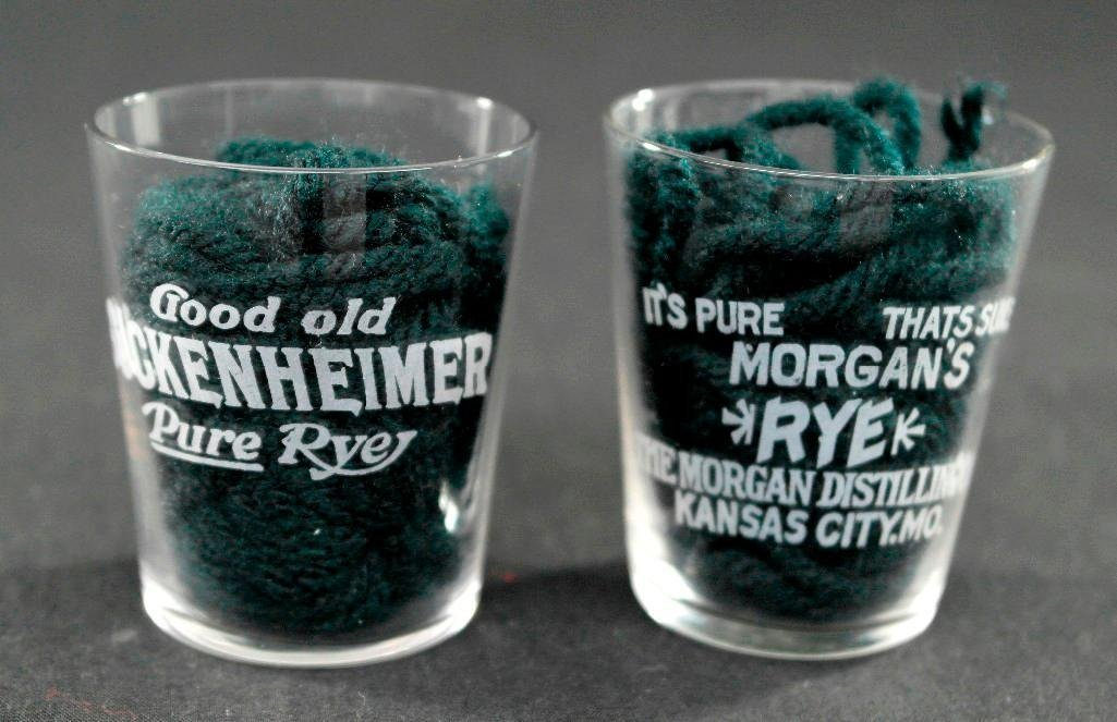 Pair of Pre Prohibition Etched Shot Glasses