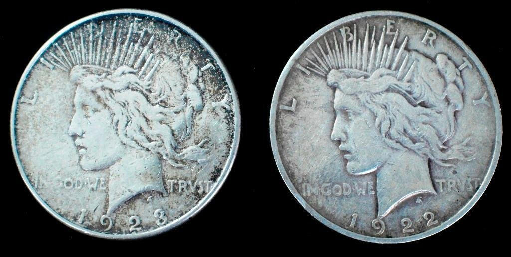 Pair of United States Peace Type Silver Dollars