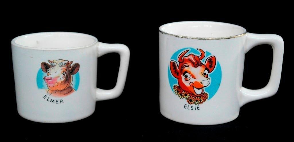 Set of Two Borden Elsie and Elmer Mugs