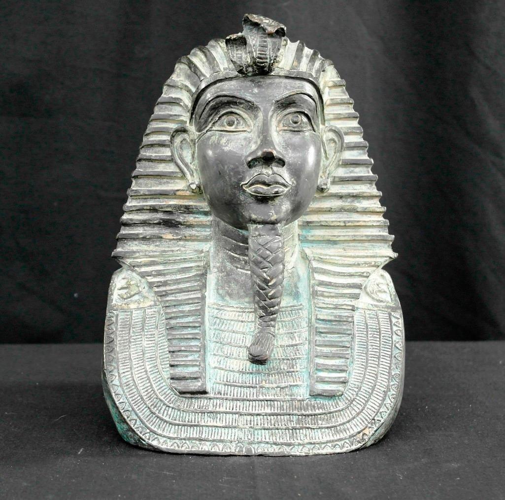 Vintage Cast Bronze Bust Statue - Pharaoh