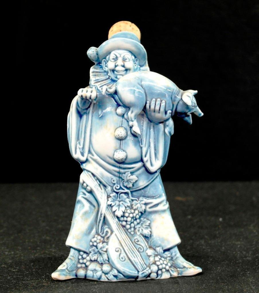 Vintage Schafer & Vater Blue Figural Flask - Evil Clown