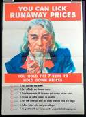 """WWII Era Poster """"How To Hold Down Prices"""" Featuring"""