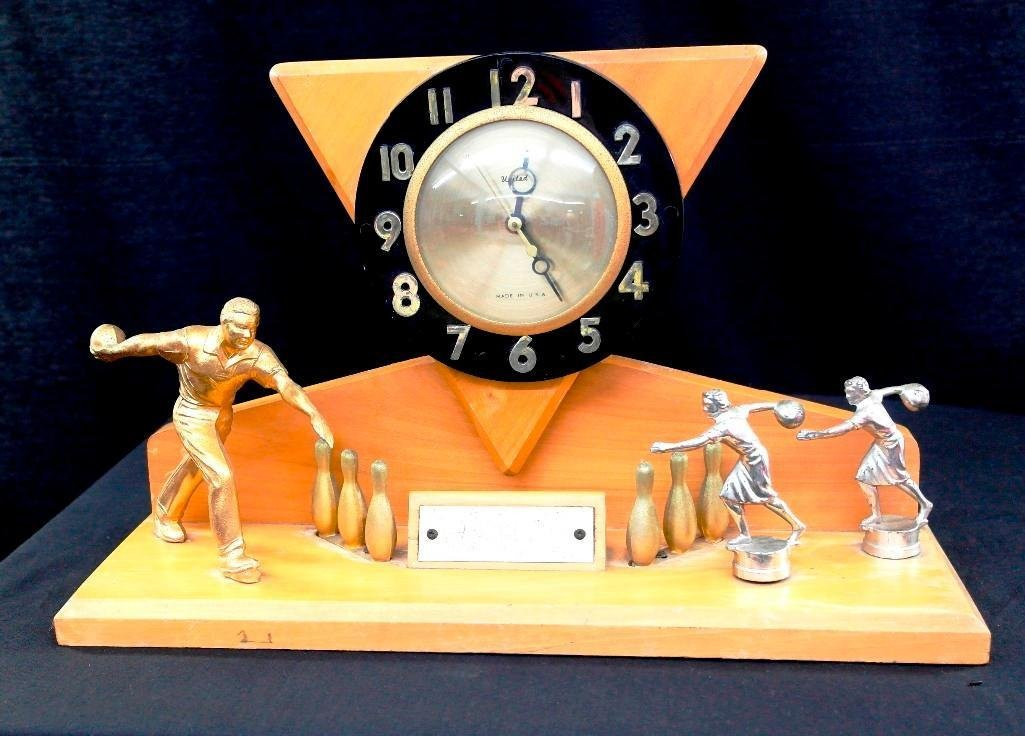 Vintage Bowling Clock Trophy - United Clock Corp. -