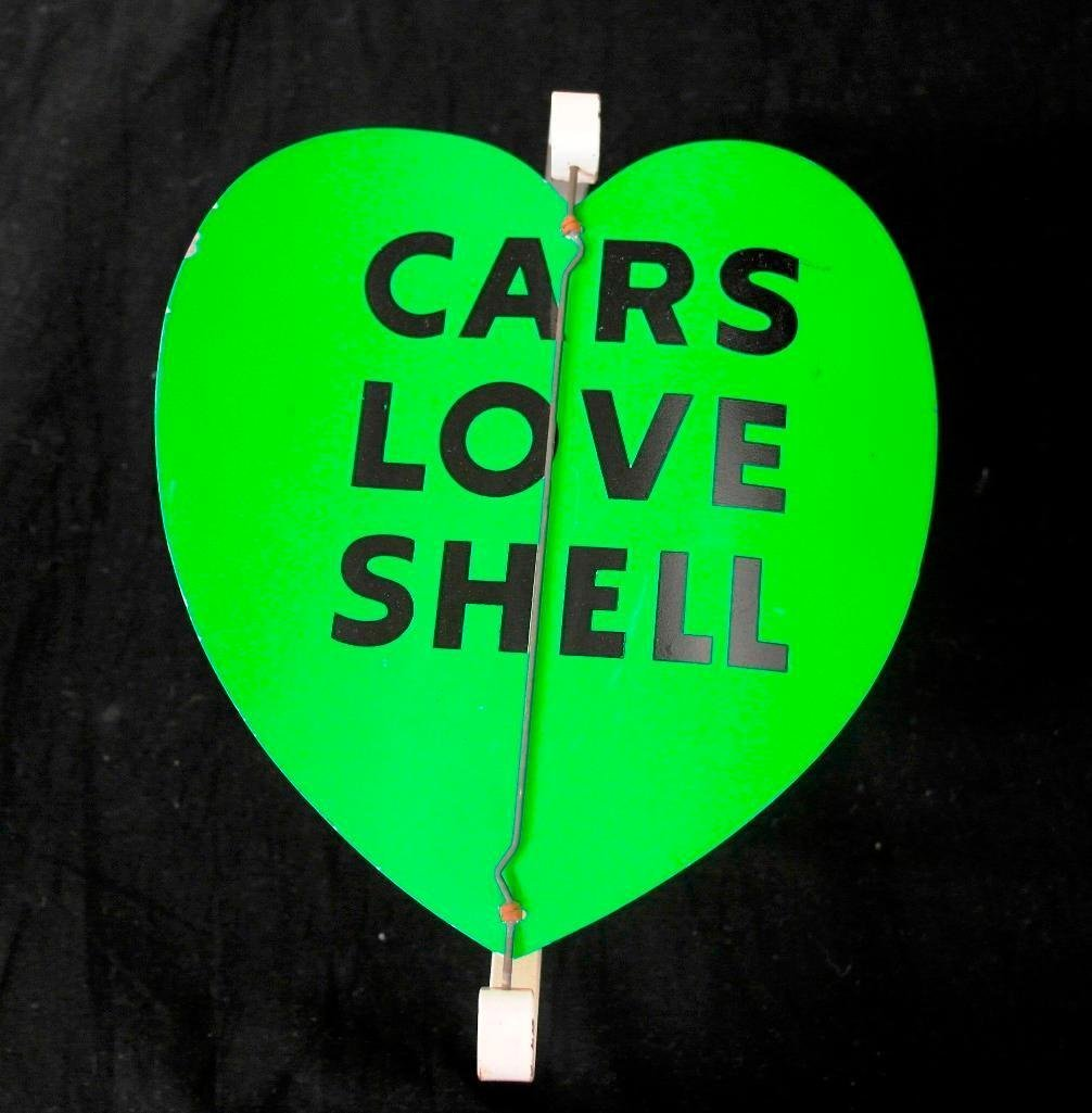 gas station spinner sign cars love shell