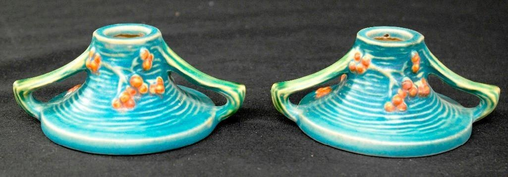 Roseville Pottery Blue Bushberry Candle Holders