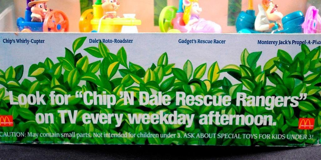 McDonald's Chip 'N Dale Happy Meal Toys Display - 6