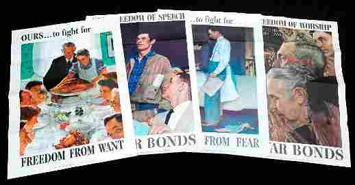 1943 Norman Rockell Original Four Freedoms Posters