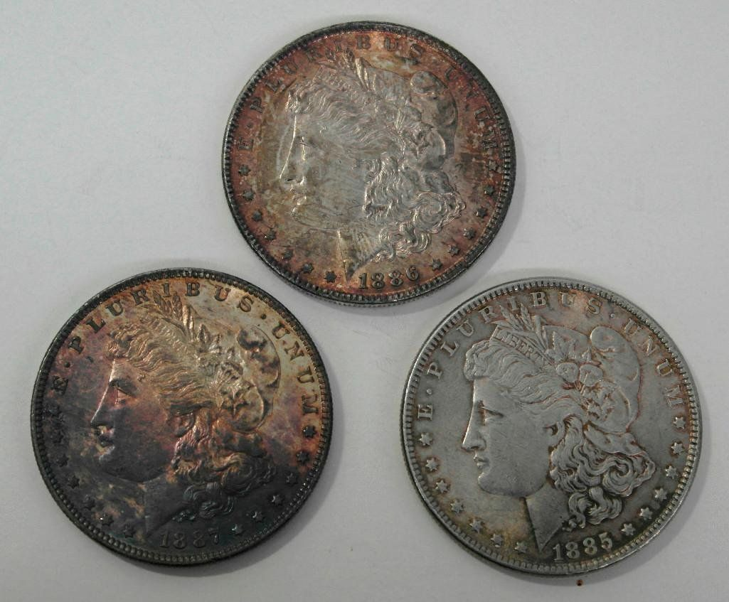 """United States Morgan Silver Dollars (3) Different """"P"""""""