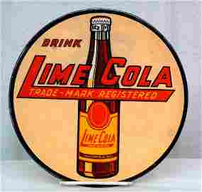 Lime Cola Round Celluloid Sign