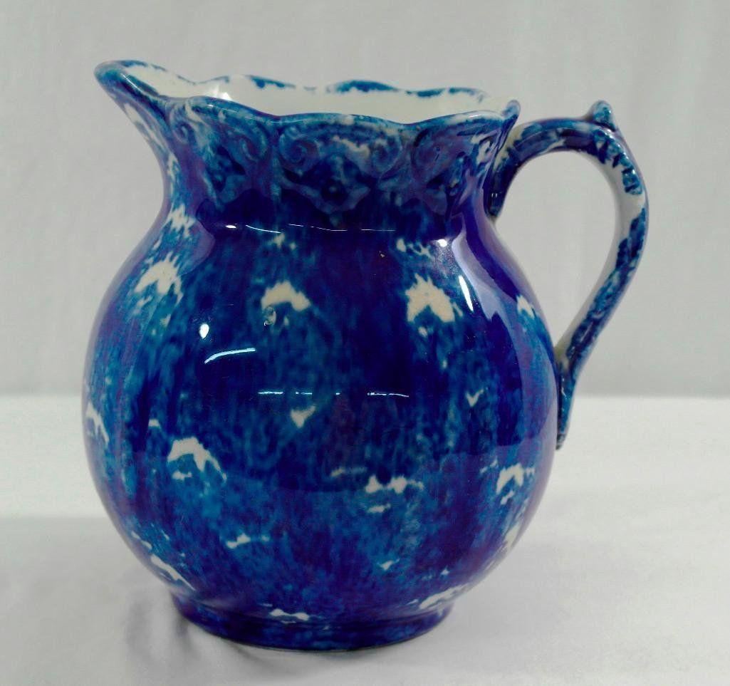 Flow Blue (?) Milk Pitcher