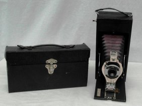 Vintage Conley Folding Camera With Red Bellows