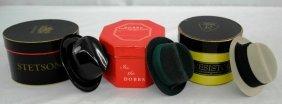 """Vintage 3"""" Miniature Hat Boxes With Men's Hats"""