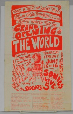 Handbill Grand Opening For The World In Portland