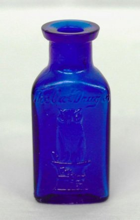 Owl Poison Bottle - 3 Sided - Cobalt Blue
