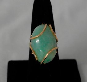 Cabochon Jade Ring With 14k Gold Setting