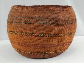 Pomo Storage Basket From Late 19th Century