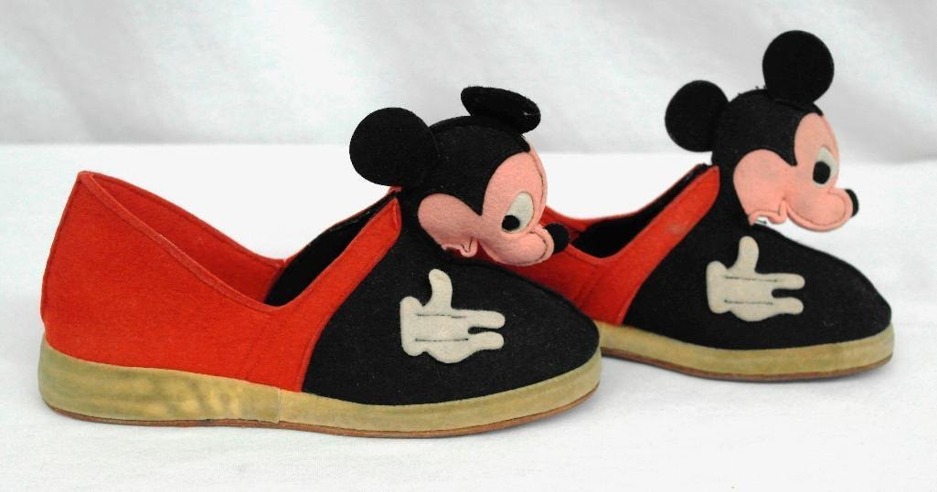 Vintage Disney's Mickey Mouse Slippers, Child's Size 11