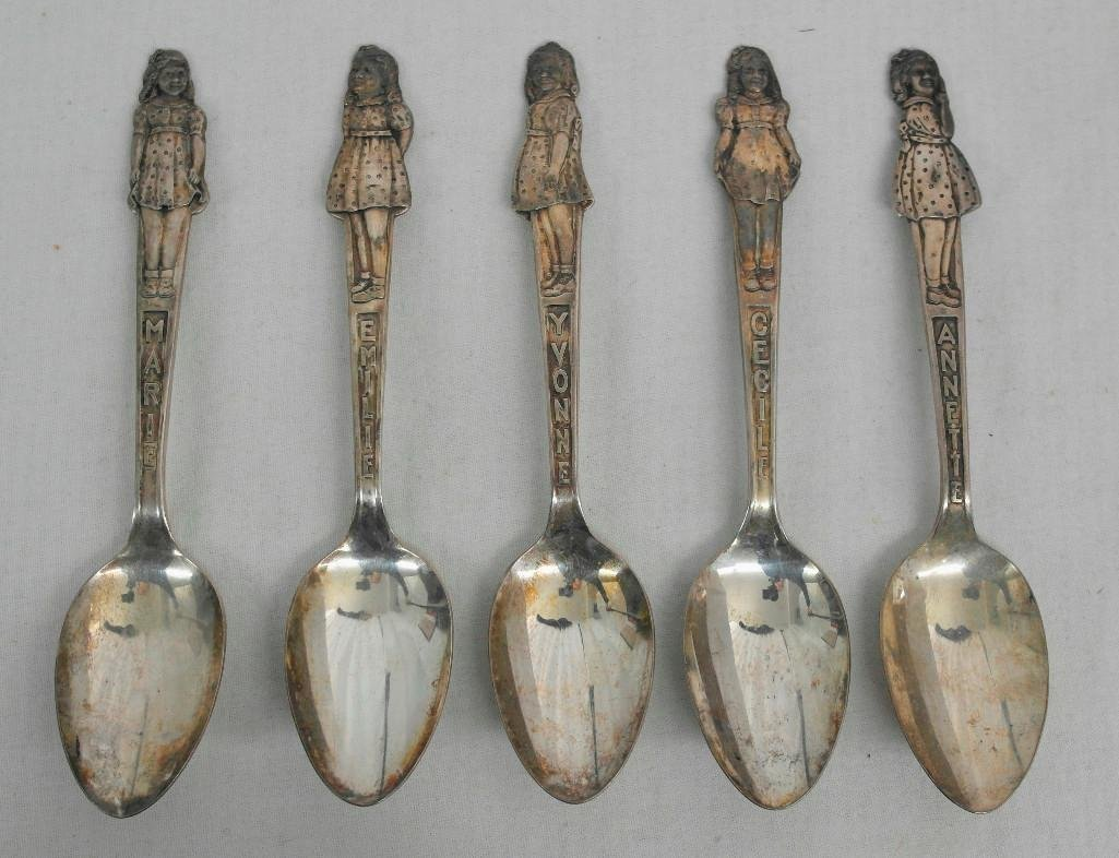 Dionne Quintuplets Set of Five Silverplate Spoons