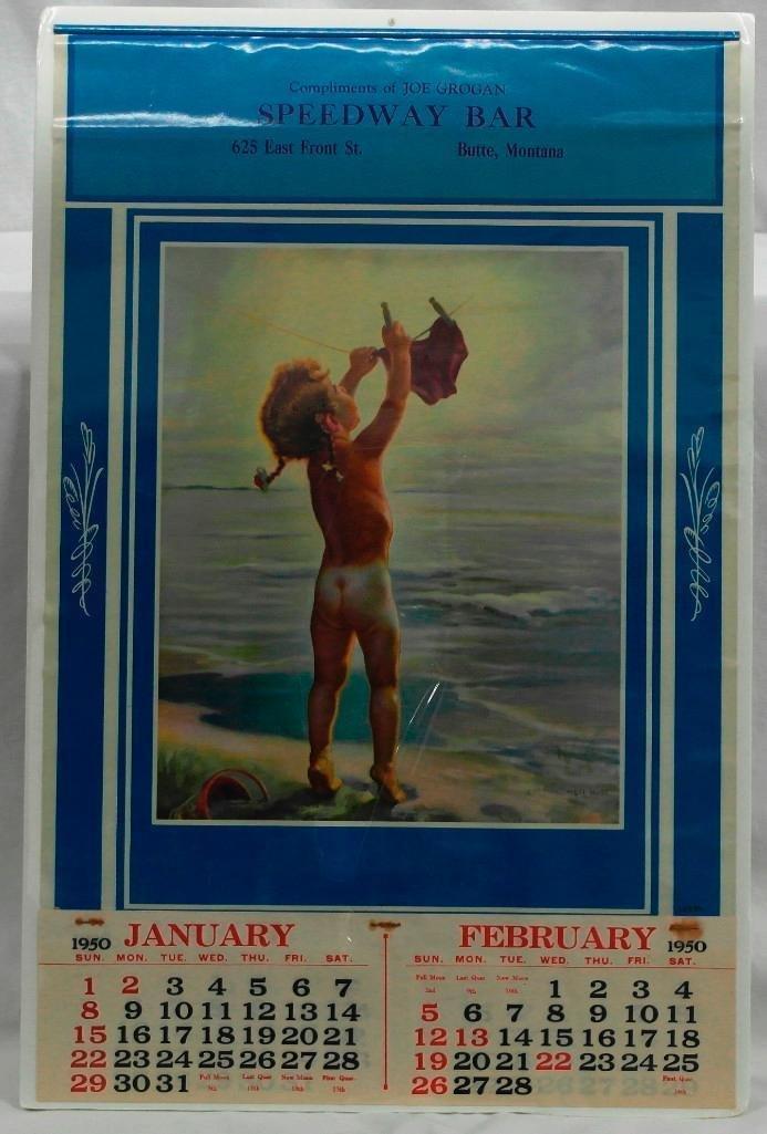 1950 Calendar From Speedway Bar in Butte, Montana