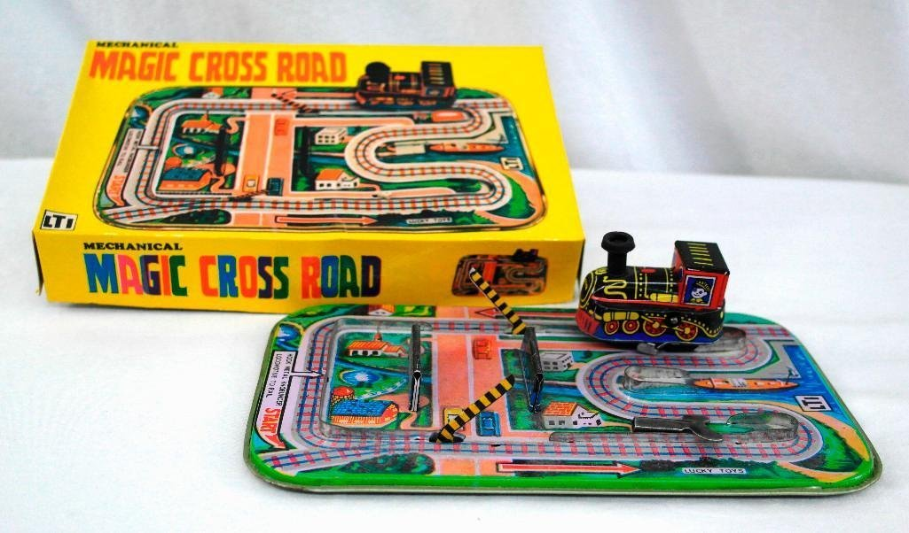 Mechanical Magic Cross Road Tin Litho Toy From Germany