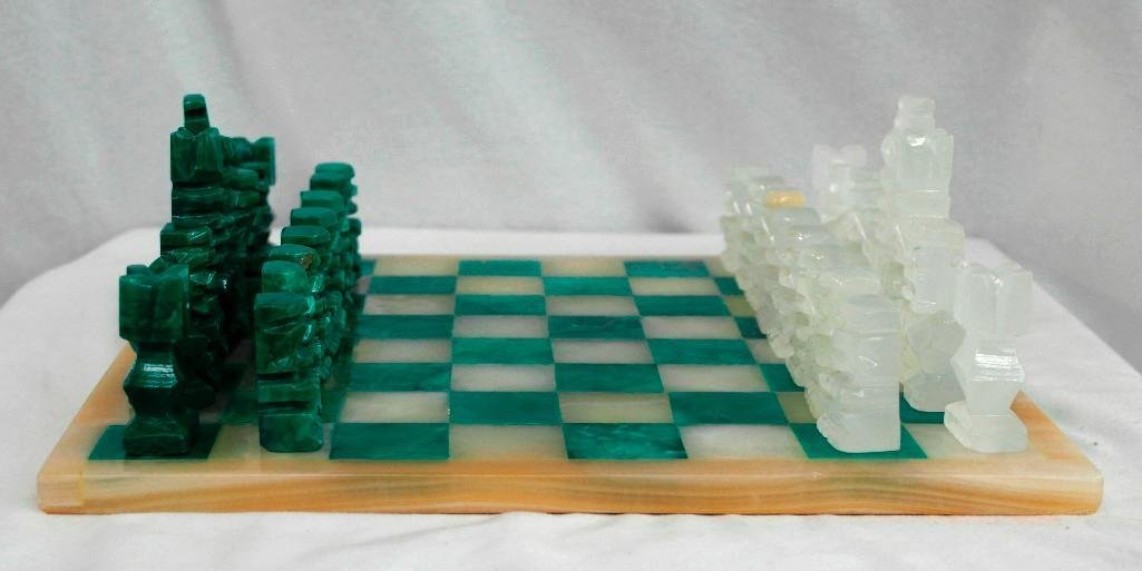 Gorgeous Vintage Marble or Alabaster Chess Set - 4