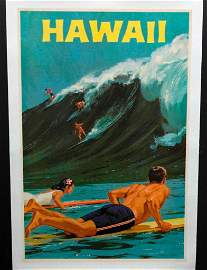 Hawaii Travel Poster By Chas. Allen - Mounted on Linen