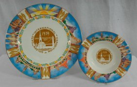 Art Deco Plate And Ashtray From 1939 Golden Gate Expo