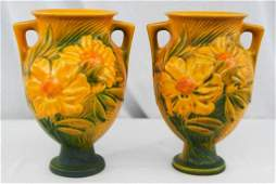 Pair of Roseville Peony Double Handled Vases
