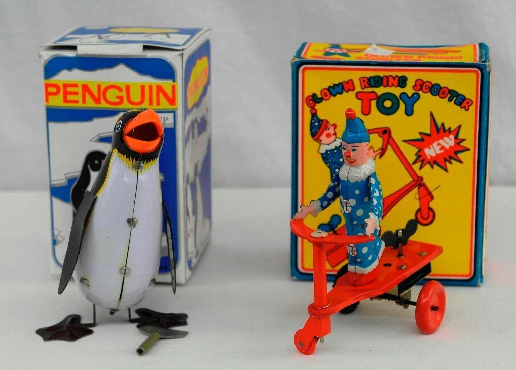 2 Tin Litho Wind-Up Toys - Penguin and Scooter Riding