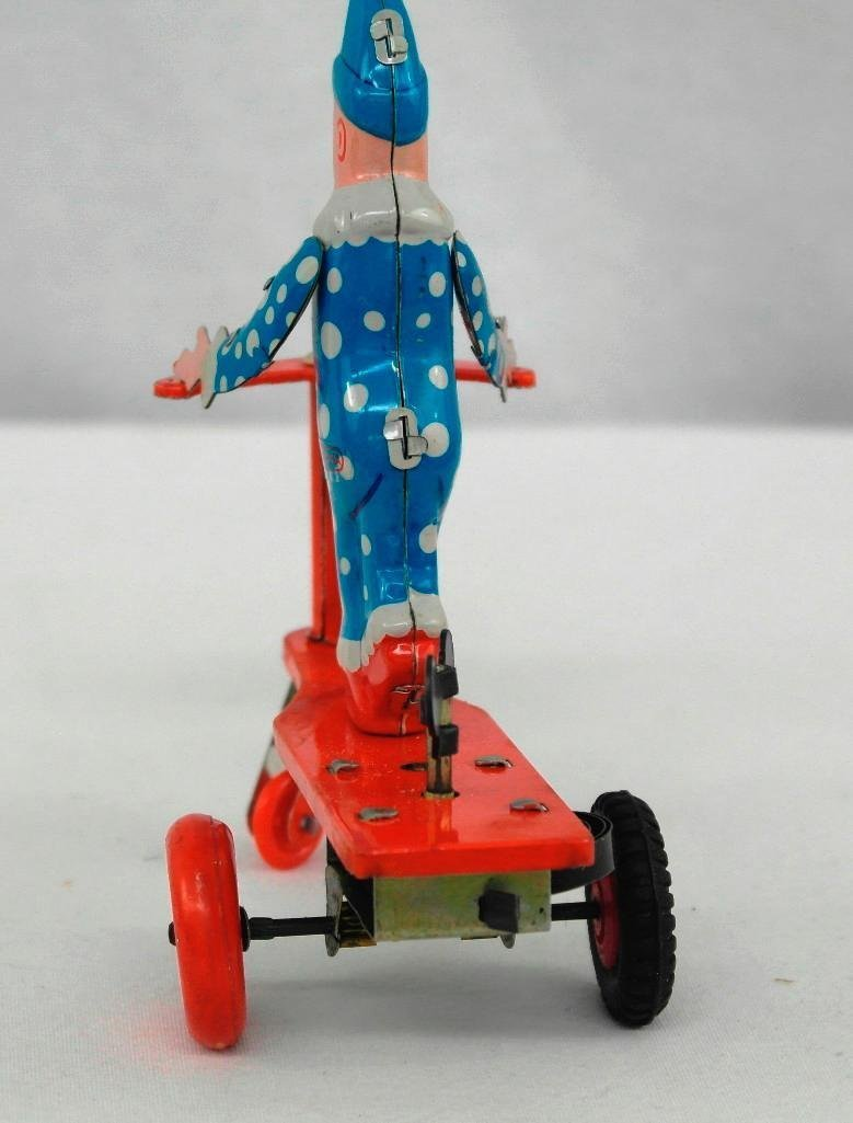 2 Tin Litho Wind-Up Toys - Penguin and Scooter Riding - 8