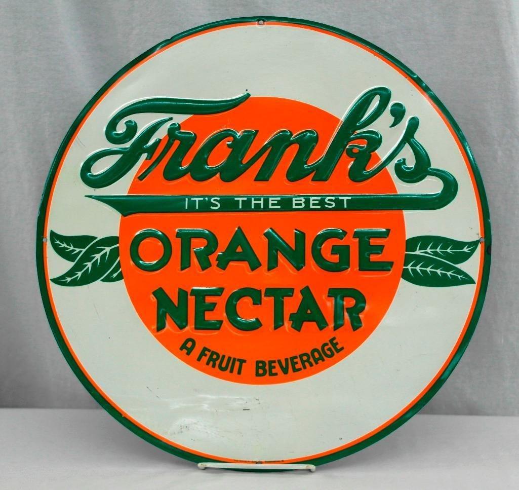 Frank's Orange Nectar Round Embossed Tin Sign