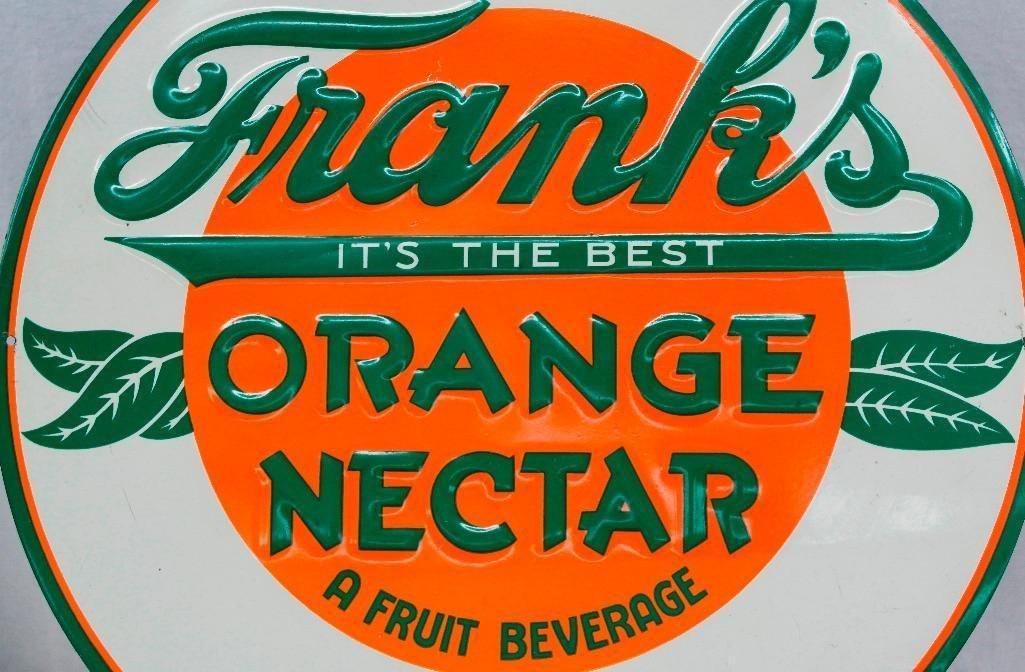 Frank's Orange Nectar Round Embossed Tin Sign - 2