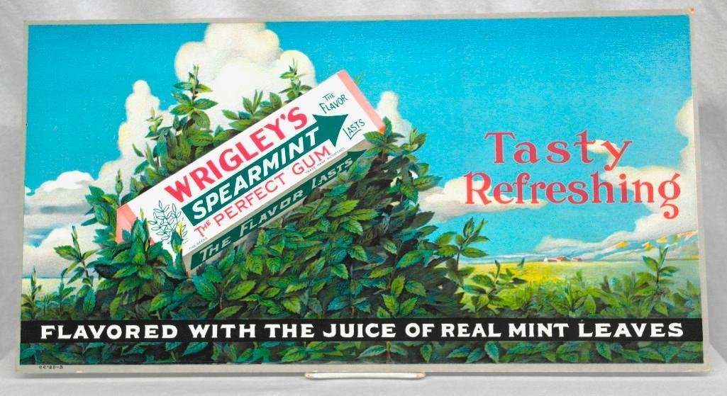 1929 Wrigley's Spearmint Chewing Gum Trolley Sign