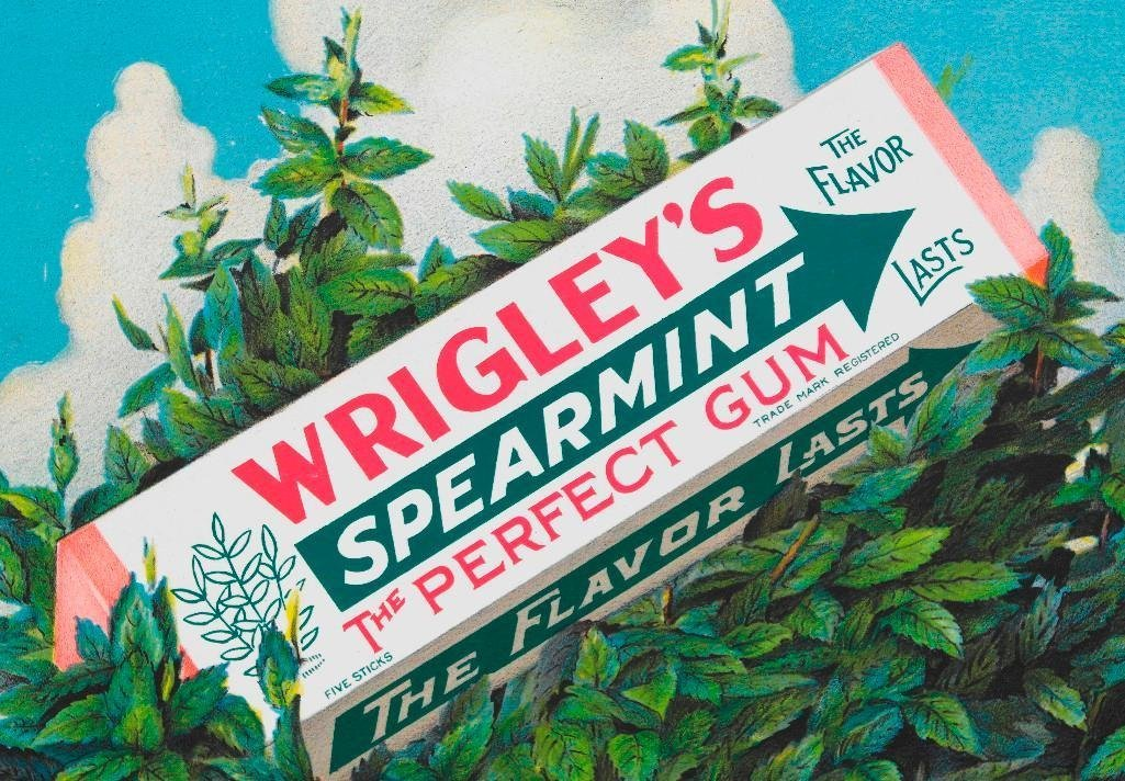 1929 Wrigley's Spearmint Chewing Gum Trolley Sign - 2