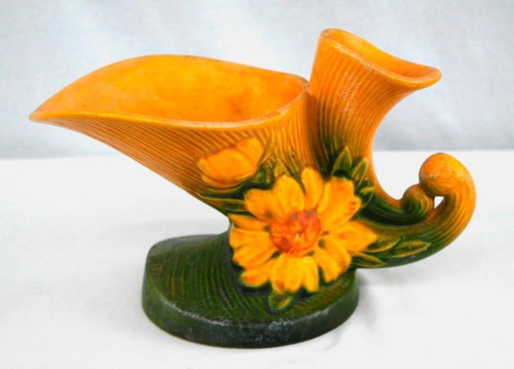 Roseville Peony Cornucopia Vase