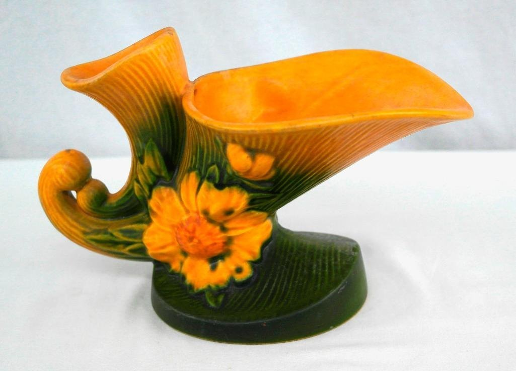 Roseville Peony Cornucopia Vase - 3