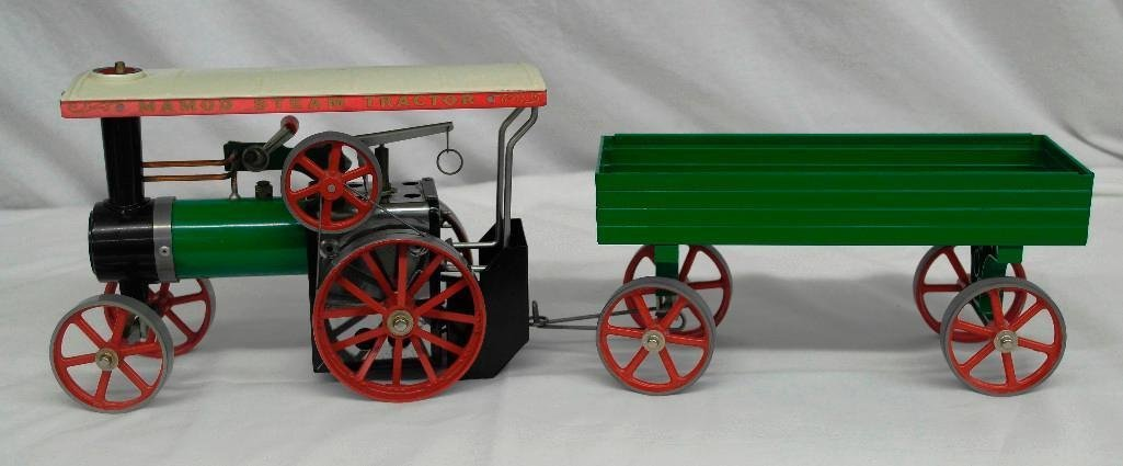 Vintage Mamod Steam Tractor Toy With Open Wagon
