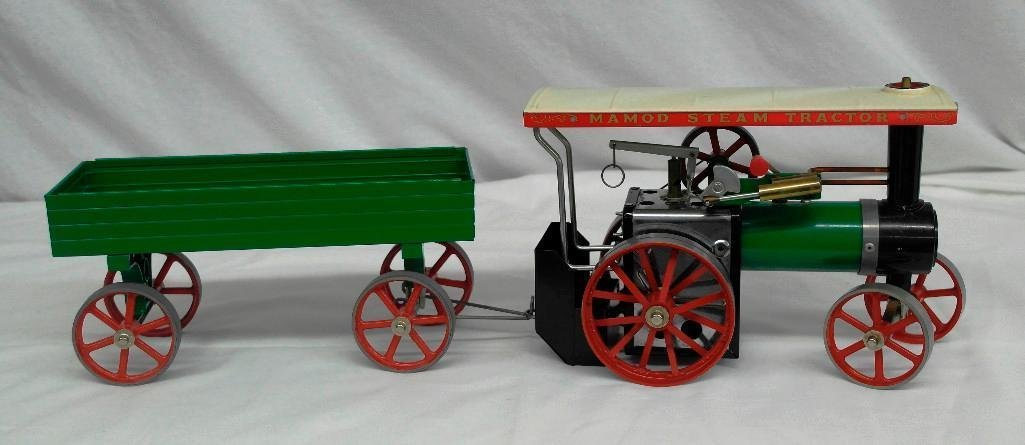 Vintage Mamod Steam Tractor Toy With Open Wagon - 2