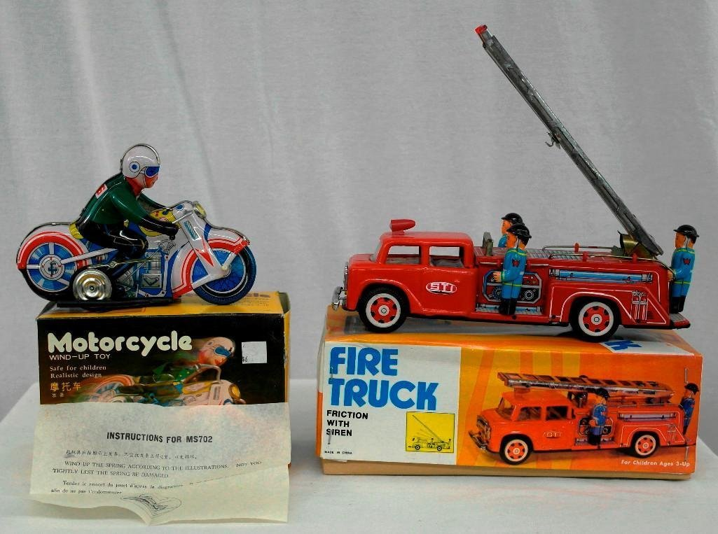 2 Tin Litho Toys - Fire Truck And Motorcycle