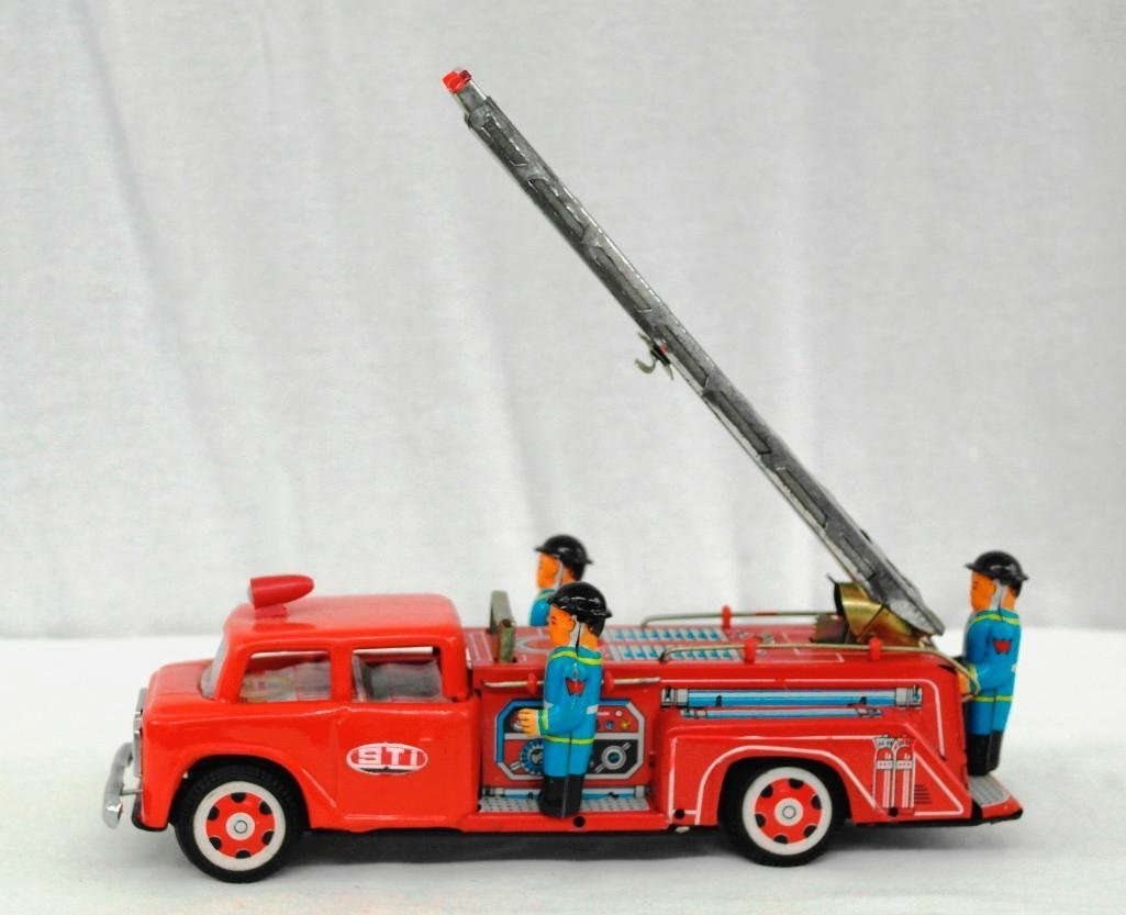 2 Tin Litho Toys - Fire Truck And Motorcycle - 2