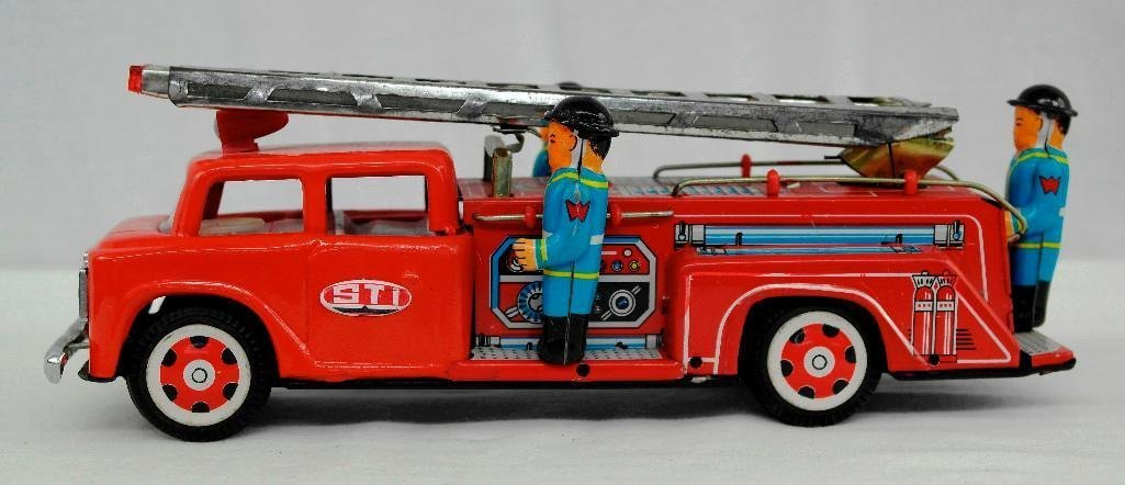 2 Tin Litho Toys - Fire Truck And Motorcycle - 3