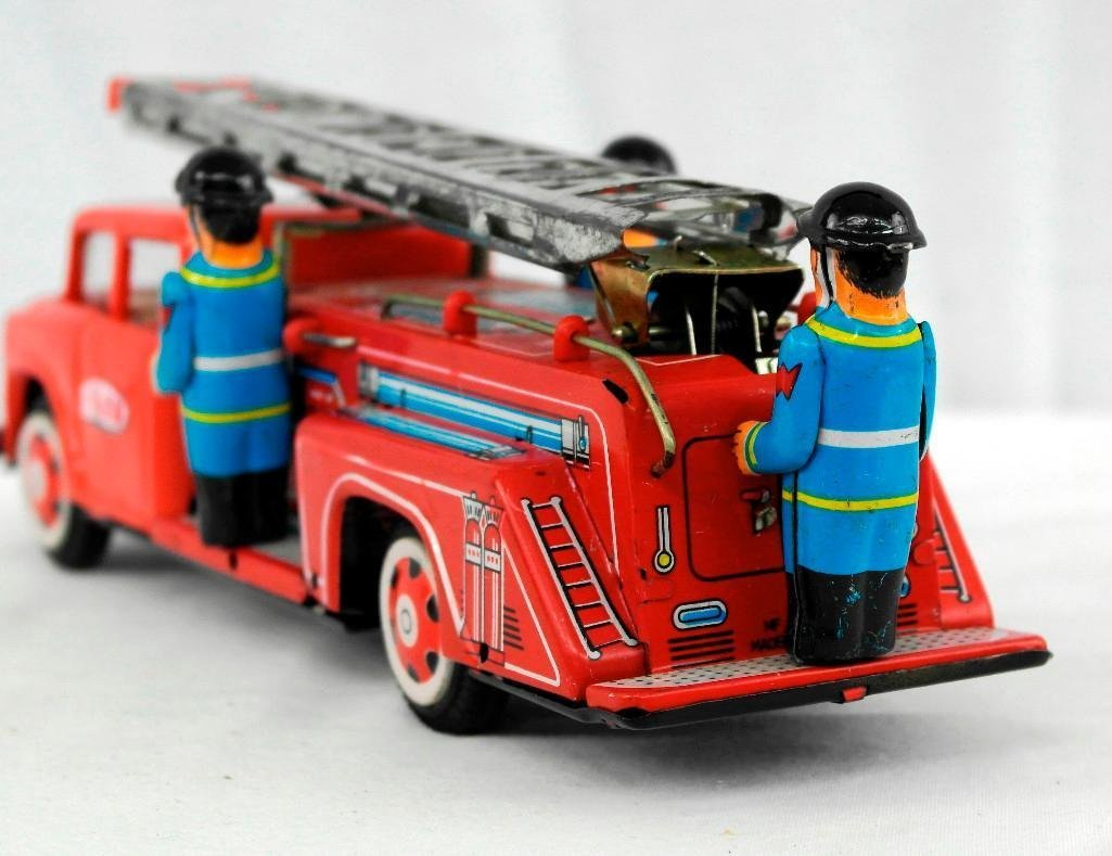 2 Tin Litho Toys - Fire Truck And Motorcycle - 4