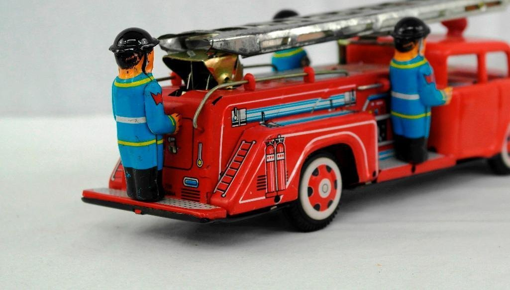 2 Tin Litho Toys - Fire Truck And Motorcycle - 5