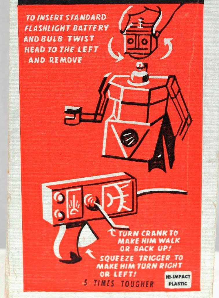"""1950's """"Robert The Robot"""" Remote Control Robot With - 10"""
