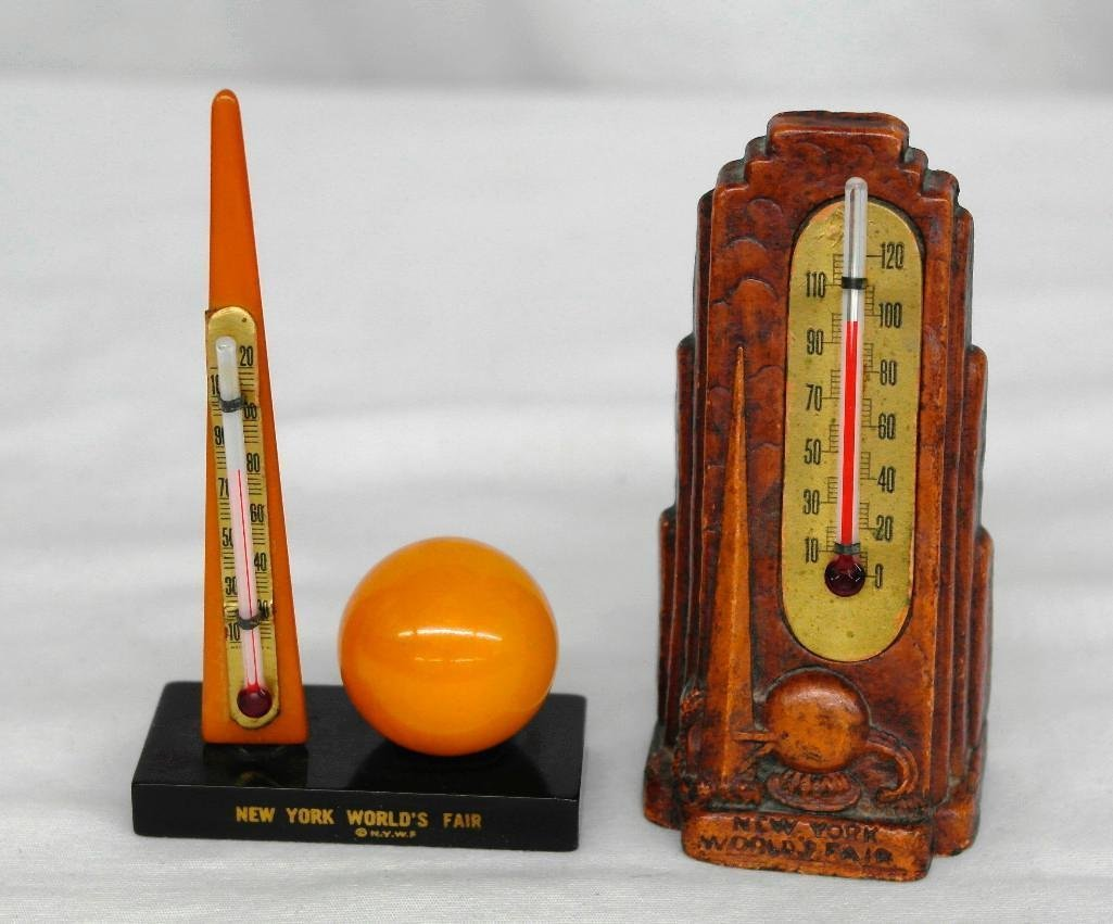 2 New York World's Fair Souvenir Thermometers